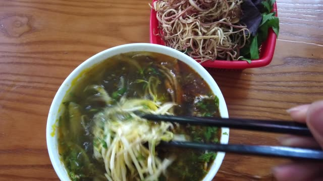 cellophane noodle and eel soup bowl food of vietnam style local - cellophane stock videos and b-roll footage