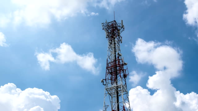 cellular phone tower and blue sky - repeater tower stock videos and b-roll footage