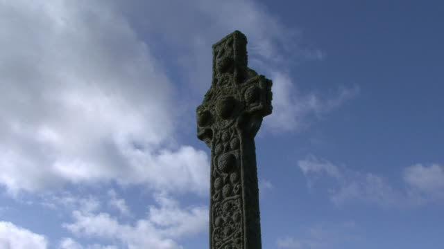 la celtic cross of iona abby / isle of iona, scotland, united kingdom - monastery stock videos & royalty-free footage