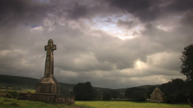 Celtic Cross with timelapse clouds