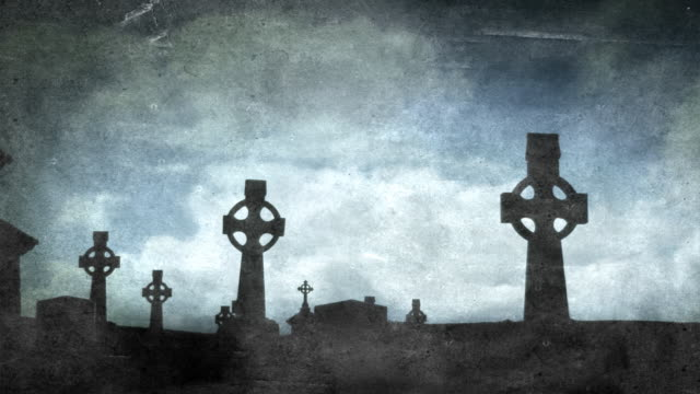 celtic crosses in graveyard - aged - religious cross stock videos and b-roll footage