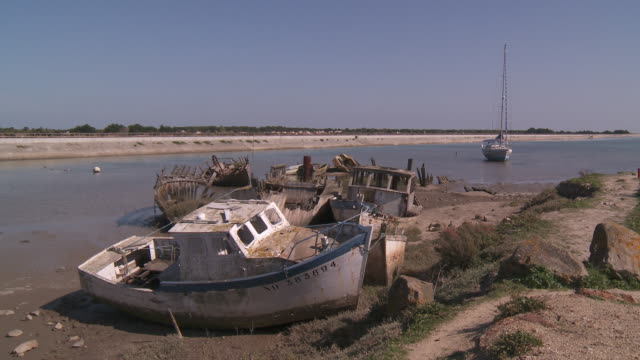 cemetery of boats noirmoutier - abandoned stock videos & royalty-free footage