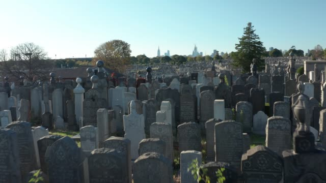 cemetery with nyc skyline, drone view - grabstein stock-videos und b-roll-filmmaterial