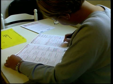 london woman sitting at table filling out census form cs boxes on form ticked cbv woman filling out form mss woman at table filling out form census... - census stock videos & royalty-free footage