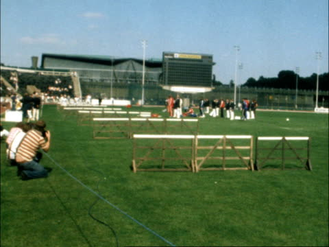 centenary aaa championships; england: london: crystal palace: gv old fashioned hurdle race: cms competitor with edwardian moustache: bv old fashioned... - edwardian style stock videos & royalty-free footage