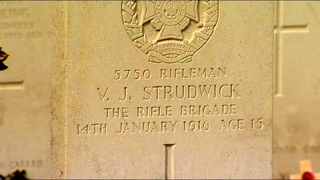 boy soldier valentine 'joe' strudwick; belgium: ypres: boezinge: essex farm commonwealth war graves commission cemetery: ext general views of world... - vj演出点の映像素材/bロール