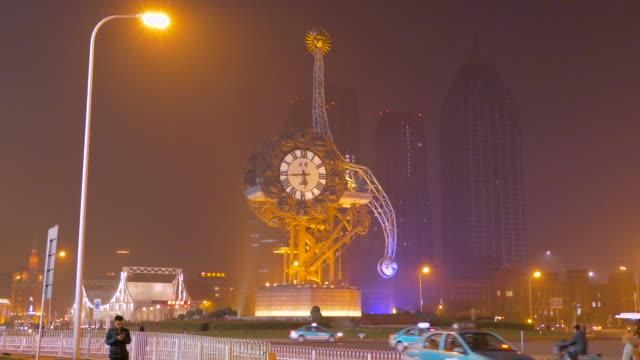 vídeos de stock e filmes b-roll de centenary clock, tianjin, china - maior