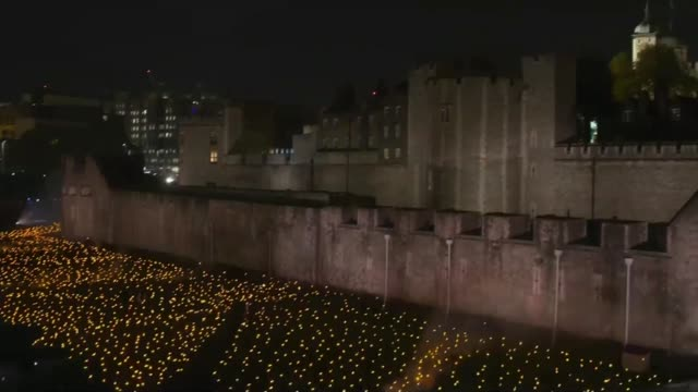 Commemorations across the UK ENGLAND London Tower of London Candles lit in moat of Tower of London as part of Beyond the Deepening Shadow The Tower...