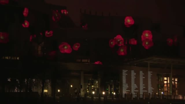 Commemorations across the UK SCOTLAND Edinburgh Holyrood Poppies projected onto Holyrood PAN Scottish National War Memorial Roll of Honour projected...