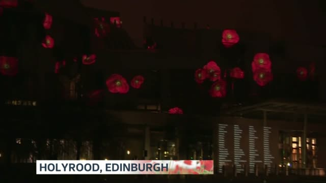 Commemorations across the UK SCOTLAND Edinburgh Holyrood Poppies projected onto side of Holyrood PAN names projected on building