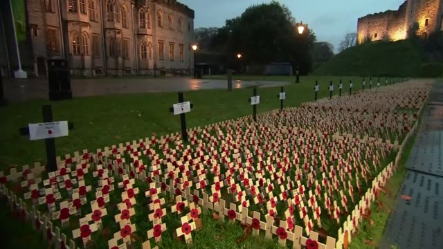 Commemorations across the UK WALES Cardiff Cardiff Castle EXT Various Poppies on crosses