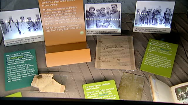 stockvideo's en b-roll-footage met centenary exhibition at imperial war museum london close shot letter informing relatives of death of frank collins he was 'killed in action' death... - imperial war museum museum