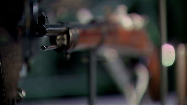 stockvideo's en b-roll-footage met centenary exhibition at imperial war museum london model of aircraft close shot gun on display pull close shot letter ends wendy tohbbitt and... - imperial war museum museum
