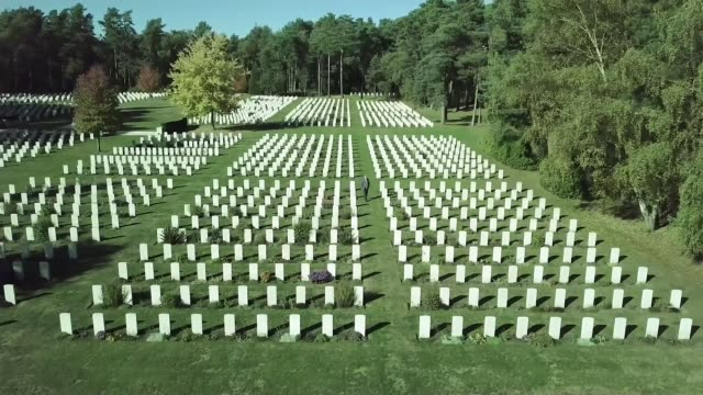 Letters from the front lines UK Surrey Brookwood Aerials / Drone footage Brookwood Cemetery war graves and memorials / John RigbyJones reading WWI...