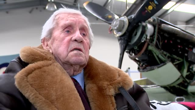 centenary marked at biggin hill; int mary ellis inside hangar allan scott interview sot mary ellis interview sot - biggin hill stock videos & royalty-free footage