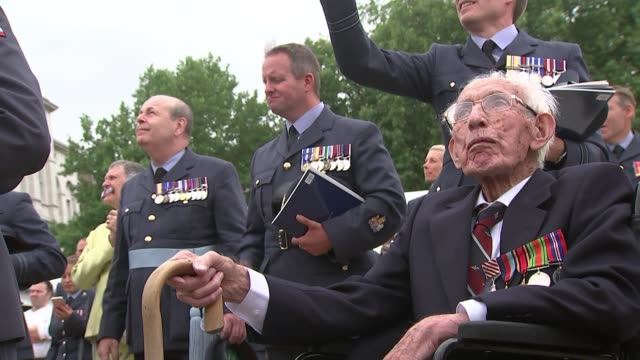 raf centenary marked by london flypast england london ext raymond cooledge watching flypast raymond cooledge interview sot cooledge watching - 英国空軍点の映像素材/bロール