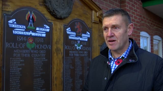 preparations for commemorative rugby match england london richmond ext graham quant looking at 'roll of honour' on memorial plaque graham quant... - memorial plaque stock videos and b-roll footage