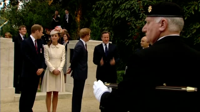 WW1 Centenary service attended by Prince Harry and Duke and Duchess of Cambridge BELGIUM Mons St Symphorien EXT Catherine Duchess of Cambridge along...