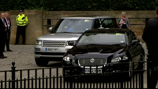 Departures SCOTLAND Glasgow EXT Cathedral entrance / Prince Charles Prince of Wales departs cathedral / David Cameron MP outside Cathedral and into...