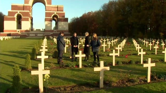 Theresa May and Emmanuel Macron honour fallen soldiers France HautsdeFrance Somme Authuille Various Thiepval Memorial / Theresa May MP and Emmanuel...