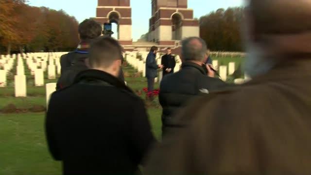 Theresa May and Emmanuel Macron visit Thiepval Memorial BELGIUM Somme Thiepval GVs Theresa May and Emmanuel Macron touring war memorial