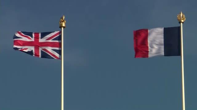 Theresa May and Emmanuel Macron visit Thiepval Memorial BELGIUM Somme Thiepval EXT GVs Thiepval Memorial / Theresa May MP and Emmanuel Macron touring...