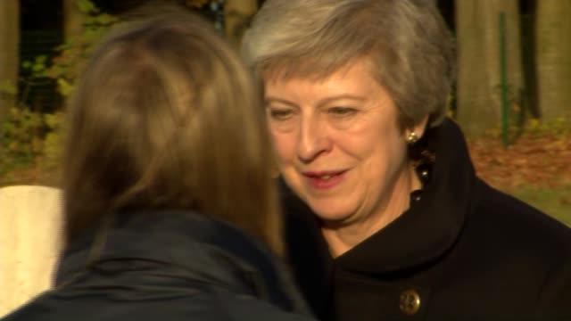 Theresa May and Emmanuel Macron visit Thiepval Memorial BELGIUM Somme Thiepval Theresa May and Emmanuel Macron touring Thiepval Memorial / meeting...