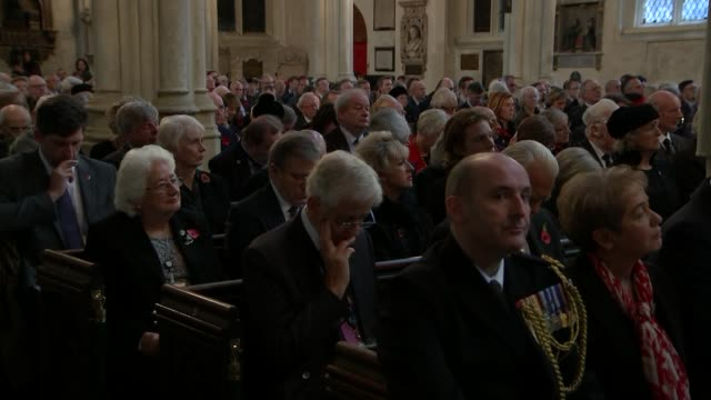 theresa may and jeremy corbyn attend remembrance service to mark centenary of end of first world war england london westminster abbey st margaret's... - congregation stock videos & royalty-free footage