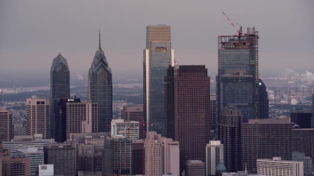 aerial center city in philadelphia from the delaware river - center city philadelphia stock videos and b-roll footage
