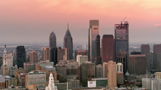 AERIAL Center city, Philadelphia early in the morning