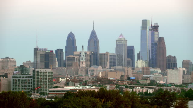 aerial center city, philadelphia from cooper point - center city philadelphia stock videos and b-roll footage
