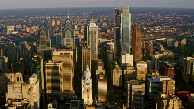 aerial center city, philadelphia in sunshine - philadelphia pennsylvania video stock e b–roll