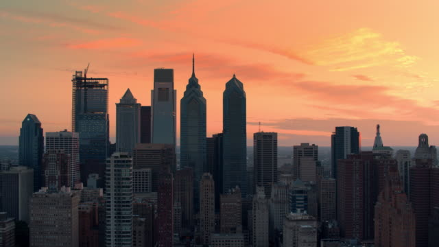 AERIAL Center City skyscrapers in Philadelphia, PA at sunrise