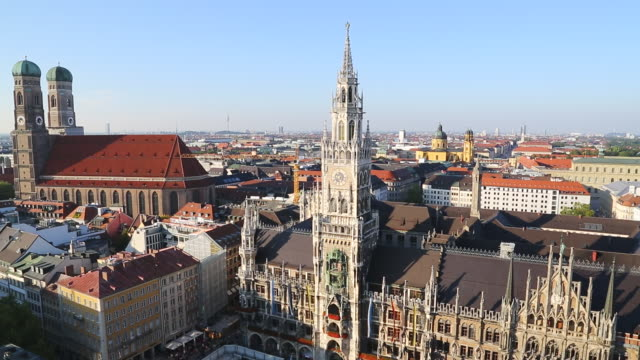 WS Center of city and Marienkirche from church / Munich, Bavaria, Germany