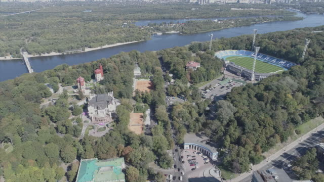 center of kiev, sunny autumn day, aerial view - ukraine stock videos and b-roll footage
