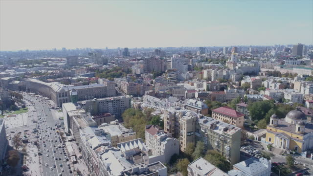 Center of Kiev, sunny autumn day, aerial view