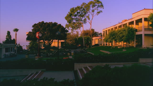T/L WS Center of Santa Barbara City College campus, sunrise to day / California, USA