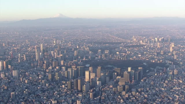 aerial, center of tokyo and mt fuji, japan - tokyo japan stock videos & royalty-free footage