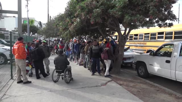 central american migrants arrive at the us mexico border city of tijuana in buses after one month on the road - nutzfahrzeug stock-videos und b-roll-filmmaterial