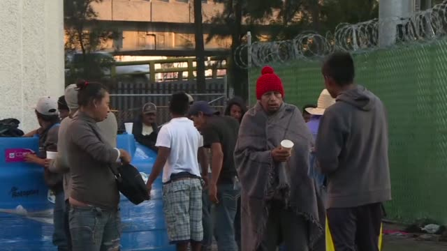 central american migrants wake up to a cold morning in a shelter in the mexican capital as they prepare to continue their trek to the us border on... - mexican american stock videos & royalty-free footage