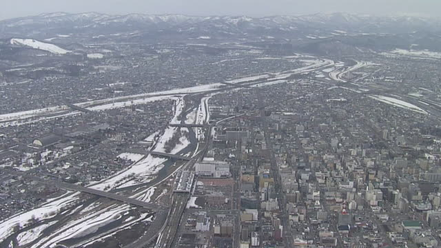 aerial, central area of city of asahikawa, hokkaido, japan - kamikawa subprefecture stock videos and b-roll footage