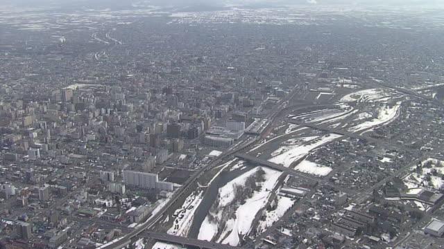 aerial, central area of city of asahikawa, hokkaido, japan - asahikawa stock videos & royalty-free footage