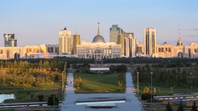 central asia, kazakhstan, astana, ak orda presidential palace of president nursultan nazarbayev - time lapse - kazakhstan stock videos & royalty-free footage
