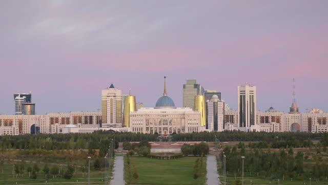 central asia, kazakhstan, astana, city skyline and ak orda presidential palace of president nursultan nazarbayev - kazakhstan stock videos and b-roll footage