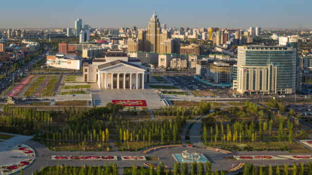 Central Asia, Kazakhstan, Astana, elevated view over the city center and Opera Theater building