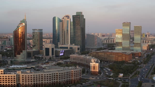 Central Asia, Kazakhstan, Astana, elevated view over the city center and central business district