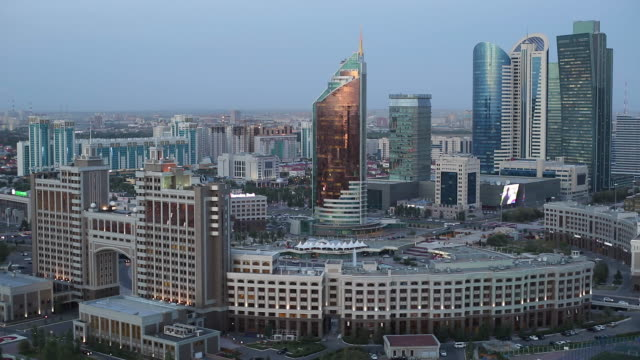 central asia, kazakhstan, astana, elevated view over the city center and central business district - kazakhstan stock videos and b-roll footage