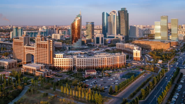 central asia, kazakhstan, astana, elevated view over the city center and central business district- time lapse - 4k resolution stock videos & royalty-free footage