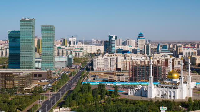 Central Asia, Kazakhstan, Astana, elevated view over the city center