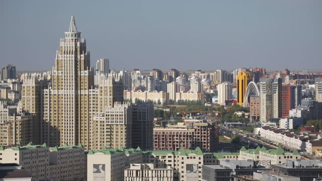 central asia, kazakhstan, astana, elevated view over the city center - kazakhstan stock videos and b-roll footage